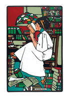Woman Reading in Library - Books & Readers Greeting Card