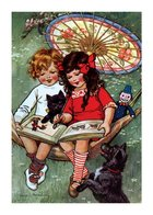 Boy and Girl Reading in a Hammock - Books & Readers Greeting Card (6)